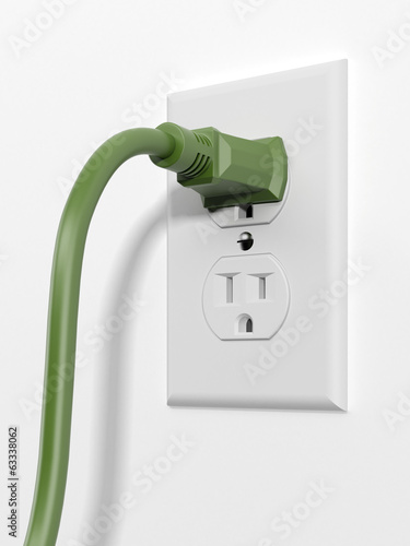 green us style plug with socket