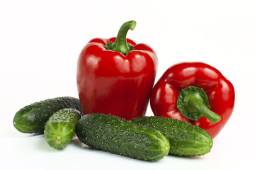 sweet red bell pepper and cucumber