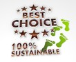 sustainable best choice 3d symbol