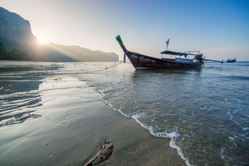Thai longtail boat at sunrise.
