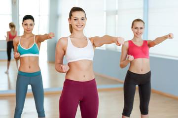 Women exercising.