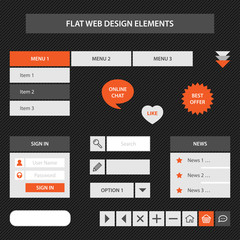 Flat web design elements
