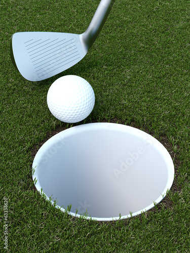golf with a ball and putter