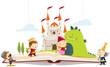 Постер, плакат: Livre de conte dragon & princesse