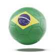 Soccer ball with Brazilian flag