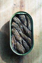 Smoked sprats in a jar