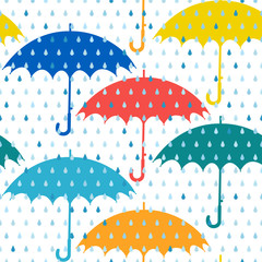 Umbrellas and rain. Seamless pattern.