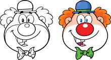 Klaun twarzy Cartoon znaków. Kolekcja Ustaw