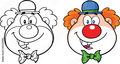 Clown Face Cartoon Character. Collection Set