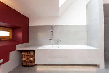White bath in modern bathroom