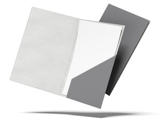 open and closed black folders with a sheet