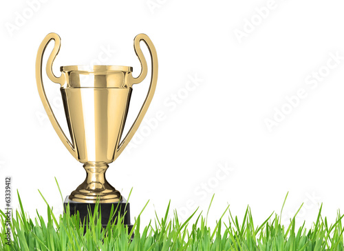 Champion trophy on grass. Isolated on white