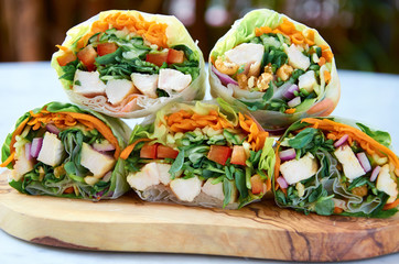 Healthy fast food, fresh vegetable rice paper rolls