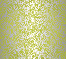 green  & silver vintage seamless floral background design