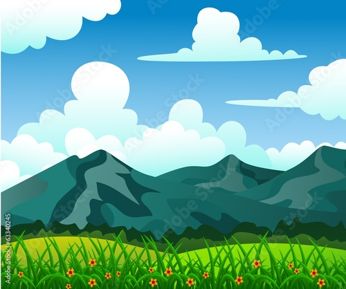 Summer Landscape, Beautiful Mountain With Great Sky