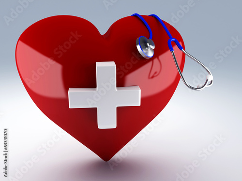 heart and stethoscope. first aid concept