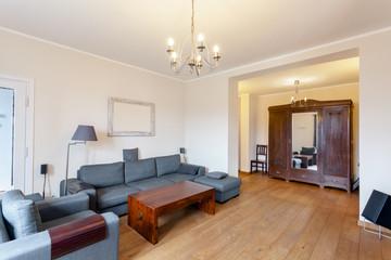 Grey sofa in spacious living room