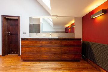 Wooden furnitured bathroom