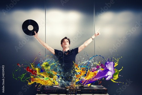 Cool DJ playing music