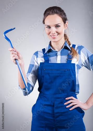 Woman with crowbar
