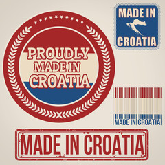 Made in Croatia stamp and labels