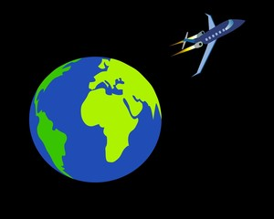 Earth and Aircraft on background