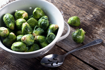 Freshly picked and washed Brussel sprouts