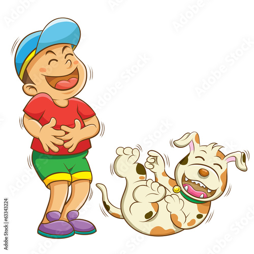 boy and dog laughing