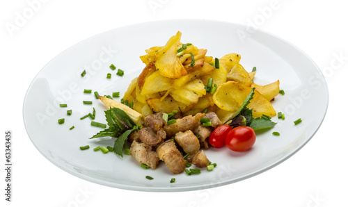 Fried pork with potato
