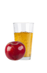 Glass of fresh apple juice with apple