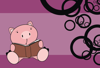 pig baby cartoon reading postal