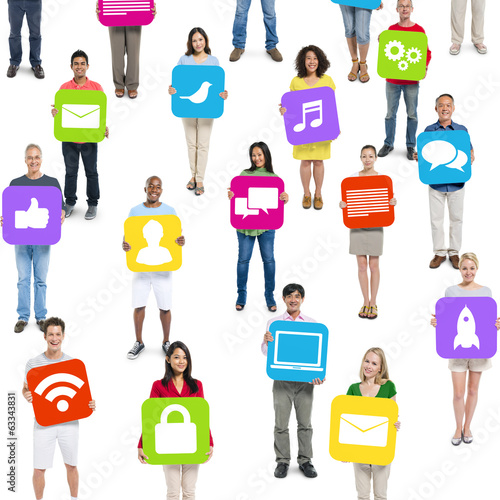 Group of People Holding Social Media Icons