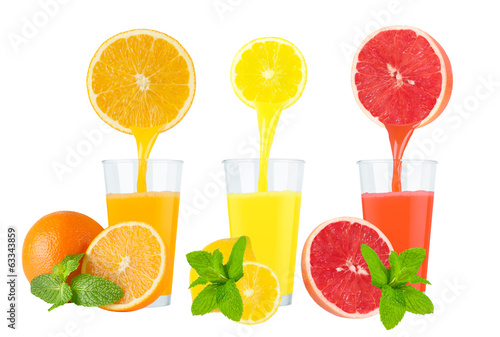 Collage of fresh fruit juices on white background