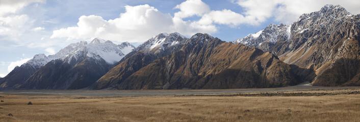Mt Cook Sefton and Tasman valleys in panoramic view, NZ