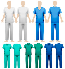 Set of medical overalls. Design template. Vector illustration.
