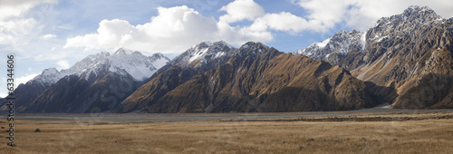 Mt Cook Sefton and Tasman valleys in panoramic view, NZ