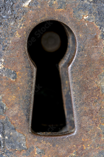 Jail cell door keyhole old and rusty