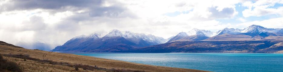 Panoramic Tasman valleys and turquoise lake, New Zealand
