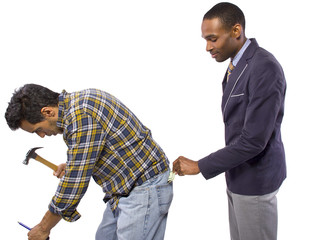 Businessman Stealing from a Blue Collar Worker