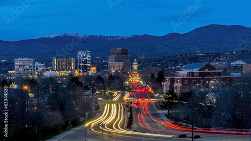 Boise Idaho night secene of Capital boulevard