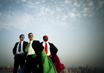 Business Superheroes at City Skyline