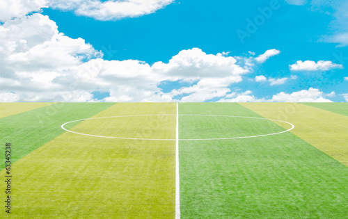 Artificial turf with Blue sky