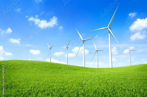 Windmill on a Green Field - 63345423