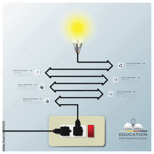 Light Bulb Electric Line Education Infographic Background