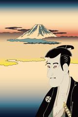 東洲斎写楽志賀大七と歌川広重する賀てふのイメージイラスト