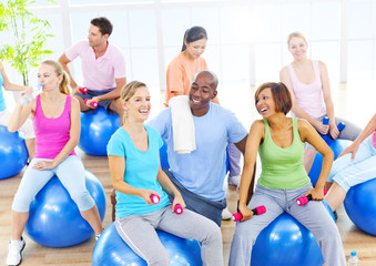 Group of Healthy People in Fitness
