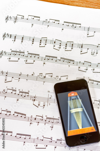Digital metronome on sheet music