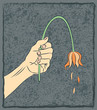 Hand Holding Wilted Flower Impotence and Depression Metaphor