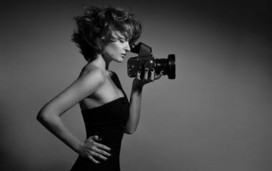 Black and white photo of beautiful fashion woman