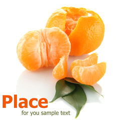 Ripe tangerines isolated on white